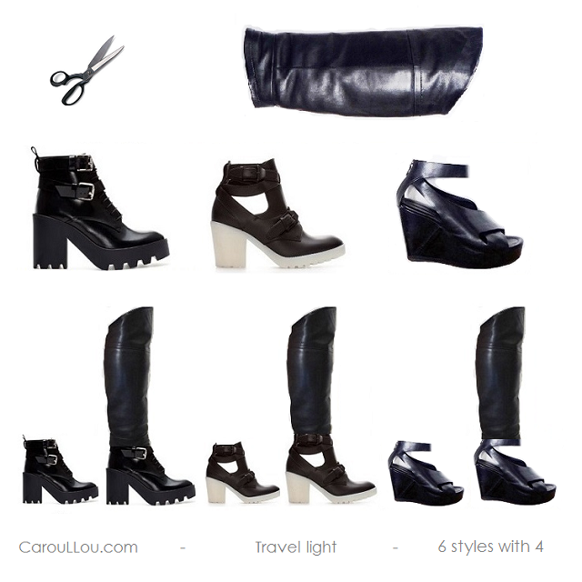 CHIC-CarouLLou.com-Carou-LLou-My-redesign-black-boots- travel light 6 styles with 3 CLL